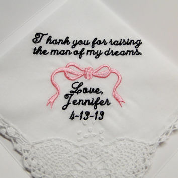 Mother of the Groom from Bride personalized embroidered wedding handkerchief lace corner mother in law gift box
