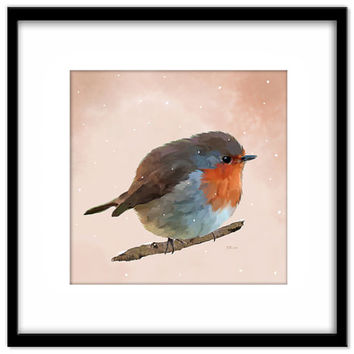 Nursery Art Printable Poster, Christmas Robin Instant Download, Bird and Snow Wall Art, Bird Lover Art