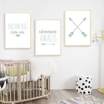 Baby Nursery Wall Art Canvas Painting Minimalist Posters Quotes Prints Nordic Kids Decoration Pictures Boys Bedroom Decoration