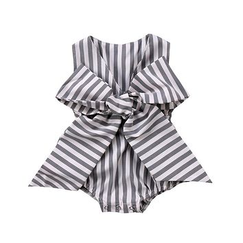 Fashion Baby Girls Romper Summer Newborn Baby Girl Bowknot Sleeveless Romper Striped V-neck Jumpsuit  Baby Clothing Outfits