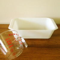 Vintage Pyrex Opal Loaf Pan, White Pyrex Loaf Pan, Milk Glass Loaf Pan, 9x5x3 Bread Pan Pyrex 215-B Made in USA