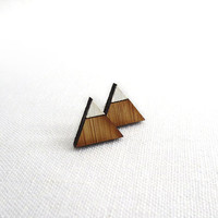 The Mountains are Calling » geometric stud earrings » hand-painted, triangle mountain tops