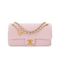 Chanel Pink Chevron Lambskin Medium Flap Bag