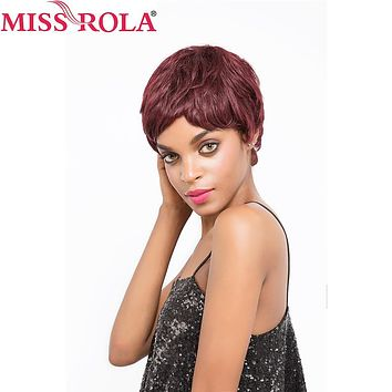 Miss Rola Hair Brazilian Straight Hair Short Human Hair Wigs #99j for Black Women Wig 360 Full with Hair Free Shipping