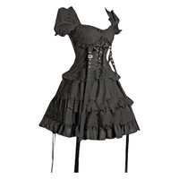 Partiss Women's Black Cotton Gothic Lolita One-Piece Dress