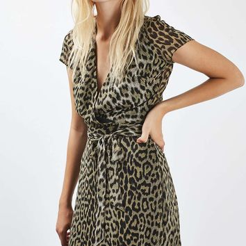 PETITE Leopard Wrap Midi Dress - Dresses - Clothing
