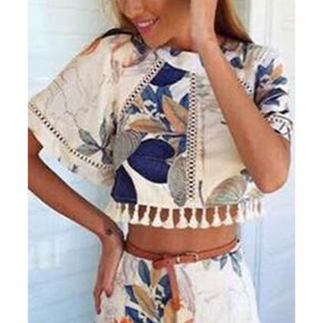 Bahama Mama Beige White Blue Grey Green Orange Floral Short Kimono Sleeve Scoop Neck Cut Out Back Fringe Crop Top Shorts Two Piece Romper - Last One!