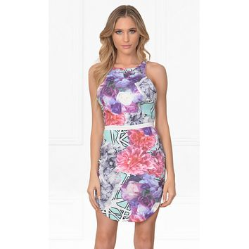 Indie XO Blank Canvas Purple Pink Blue White Black Floral Geometric Watercolor Sleeveless Scoop Neck X Back Halter Bodycon Mini Dress