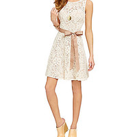 Jump 2-Tone Fit-and-Flare Lace Dress - Ivory/Taupe
