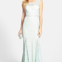 Junior Women's Sequin Hearts Embellished Metallic Lace Gown