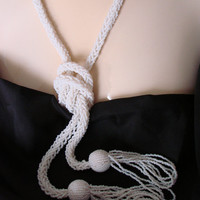 Flapper Tasseled Milk Glass Seed Bead 56 Inch Lariat Necklace