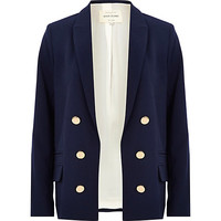 River Island Womens Navy relaxed fit blazer