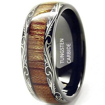 CERTIFIED 8mm Comfort Fit Black Tungsten carbide Ring Koa Wood Inlay Dome Wedding Band Ring men's jewelry
