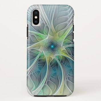 Flourish Fantasy Modern Blue Green Fractal Flower iPhone X Case