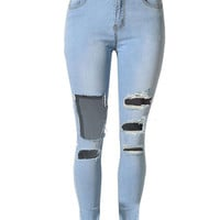 Blue Distressed Cut Out Washed Skinny Jeans