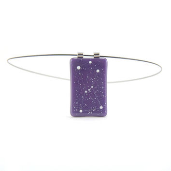 Constellation necklace Orion the Hunter, gold purple and phosphorescent white, cosmos glow in the dark fused glass, astronomy jewelry