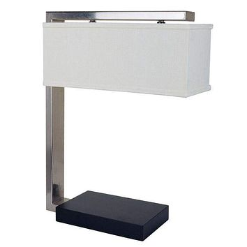 Modern Table Lamp With Rectangular Shade Silver And Black
