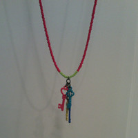 Long Seed Bead Necklace with Keys Charms - Keys to the Gates Necklace - Fushia and Green Seed Bead Necklace - 4 Keys Charm Necklace