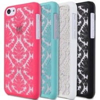 GreatShield TACT Series Design Pattern Rubber Coating Ultra Slim Fit Hard Case Cover for Apple iPhone 5C (Damask - Teal)