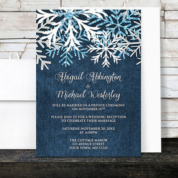 Winter Reception Only Invitations Denim - Rustic Snowflake and Navy Blue Denim Frosty design - Post-Wedding Reception - Printed Invitations