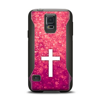The Vector White Cross over Unfocused Pink Glimmer Samsung Galaxy S5 Otterbox Commuter Case Skin Set