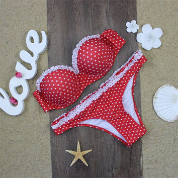 Red Polka Dots Bikini Set Bathing Suit Swimsuits