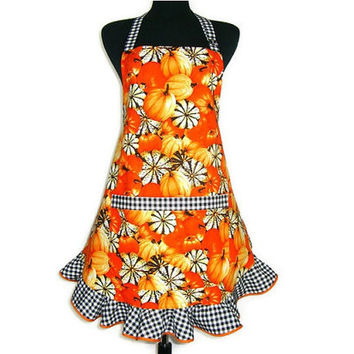 Orange Pumpkin Apron , Adjustable with Black and White Check Ruffle , Thanksgiving Kitchen Decor
