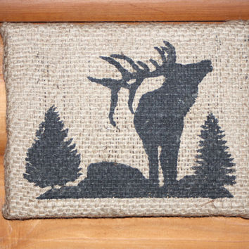 Burlap Elk Wall Art, Bugling Elk Art, Wildlife Wall Art, Wildlife Home Decor, Reclaimed Burlap and Wood