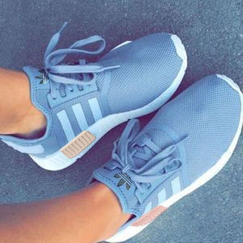 ADIDAS Women Running Sport Casual Shoes NMD Sneakers Grey(pink)