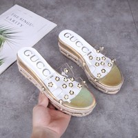 GUCCI Women Fashion Casual Leather Hemp rope slippers Sandals Shoes