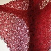 Hand knitted red laced shawl merino wool / tencel by katerynaG