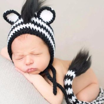 Zebra Costume Baby Crochet Outfit Photography Props Knit Baby - CC312