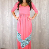 Scoop Neck Chevron & Lace Maxi