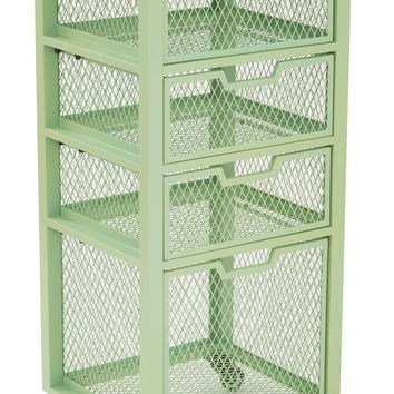 Office Star Clayton 4 Drawer Rolling Cart in Green Metal Finish Frame Fully Assembled [CLY04AS-6]