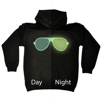 123t USA Kids Glow In The Dark ... Rave Sunglasses Funny Hoodie Ages 1-13
