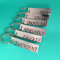Divergent Inspired Aluminum Hand Stamped Keychains- Choose Your Faction- Divergent Dauntless Abnegation Amity Candor Erudite
