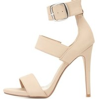 Triple-Banded Ankle Strap Heels by Charlotte Russe
