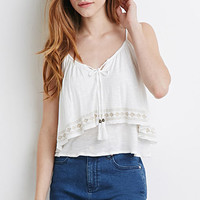 Embroidered Flounce Cami