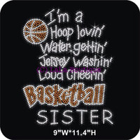 Basketball SISTER iron on rhinestone transfer - DIY heat transfer school team shirts tees for moms and kids