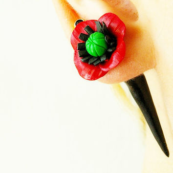 Pair of Real Custom Gauges Plugs 8g, 6g, 5g, 4g, 2g, 0g, 00g, 7/16, 1/2, 9/16, 5/8, 3/4, 7/8, 1 inch poppy earrings flower polymer clay