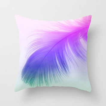 Painted Feather Throw Pillow by Ally Coxon | Society6