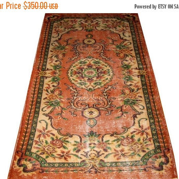 ON SALE Apricot Field With Medallion Turkish Vintage Rug  6'8'' x 3'8''  Free Shipping