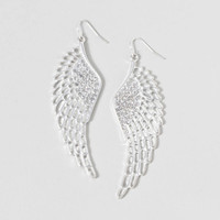 Silver and Crystal Large Wing Drop Earrings