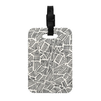"Pom Graphic Design ""Inca Lines"" Black Illustration Decorative Luggage Tag"