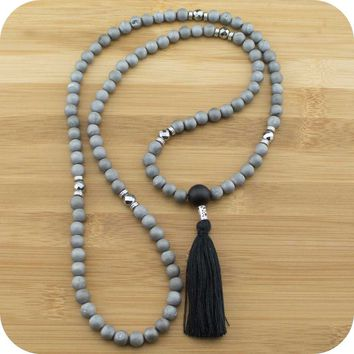 Matte Gray Druzzy Agate Mala with Matte Black Onyx