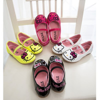 2015 new Korean Children's shoes fashion girl shoes Simple hello KT nice shape High quality Elastic PU Factory outlets drop shipping