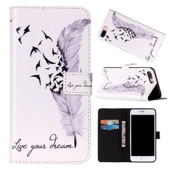 Feather Pattern Women Fashion Flip Leather Wallet Case Card Holder Magnets Skin for IPhone 8 8Plus iPhone X/ 5 5S 5C 6 6S/6 Plus