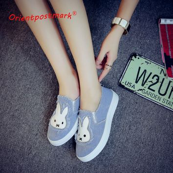 High Quality Women's Jeans Shoes flats Fashion Casual Rabbit Shoes Soft Soles Students Canvas Shoes Breathable Shoe New
