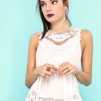 Crochet Lace Detail Knit Top