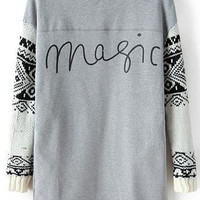 Grey Magic Print Knit Long Sleeve Sweatshirt